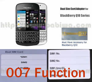 BW-2BQ-05K .Dual Sim Card Adapter for Universal Blackberry Q10 Series Phone with 007 Function(dial number to change simcards), Two Simcards Holder .Support 4G HSDPA 3G WCDMA 2G GSM