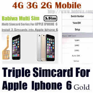 Babiwa series Triple Sim Card Adapter for Apple IPHONE 6 Gold BW-MGL-06H gold
