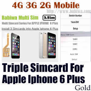 Babiwa series Triple Sim Card Adapter for Apple IPHONE 6 Plus Gold BW-MGL-61H gold