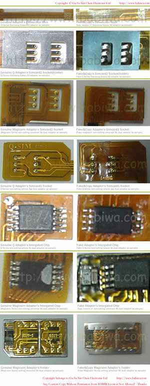 How to Spot Fake Copy Counterfeit Triple Sim Card Adapter from Genuine Version.From Gu Su Xin Chen Electronic Ltd.www.babiwa.com