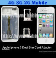Dual Sim Card Adapter for Apple IPHONE 5 White BW-AGL-5 WHITE