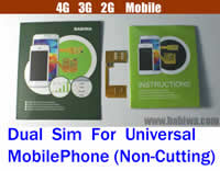 BW-3GL Dual Sim Card Adapter for Universal Mobile Phones (Non-cutting Type) Support Any Operation System : Android(1.x-4.x including Ginger Bread , Honey Comb , Ice Cream Sandwich , Jelly Bean , Froyo , Eclair , Donut ...), Apple IOS, Windows Mobile,Windows Phone,BlackBerry OS,Meego, Palm OS,BADA OS,WebOS,Any official or Unofficial OS...