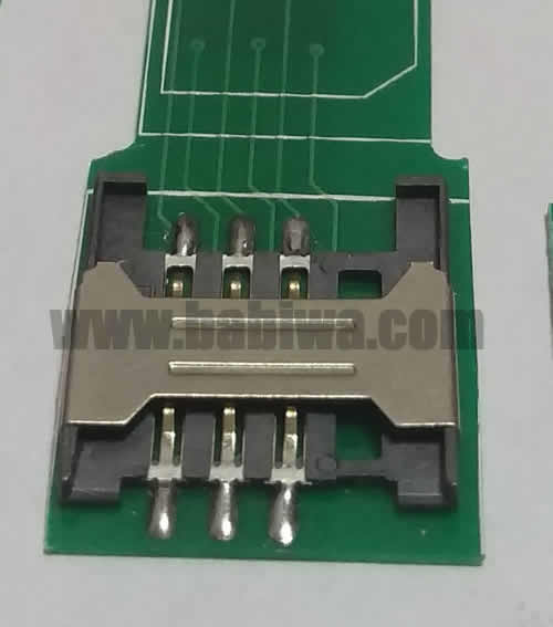Babiwa Simcard Connector No.babiwa-sim-01-B .Univeral Standarded Mini-Simcard Connector .Univerval Simcard Jack,Simcard Slot,Simcard Socket,Simcard Holder etc. Also provide Customized Order and Soldering Service On PCB.Wholesale and Retail Accepted. (Free Shipping via Trackable Registered Airmail to Worldwide Area)