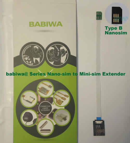 Babiwa@ No.30B Universal Nano-simcard to Minisimcard (microsimcard,nanosimcard) Extension Cable.Support Any devices (brands,models) using Nano simcard in Type B Bevel Direction.also called Nano Simcard Extension Cable,Nano Simcard Linker,Nano Simcard Connector Extender.Universal Nano Simcard Jack Extension Cable,Extender of Nano Simcard Slot,Linker of Nano Simcard Socket,Extender for Nano Simcard Holder.(Free Shipping via Trackable Registered Airmail to Worldwide Area WWW.BABIWA.COM)