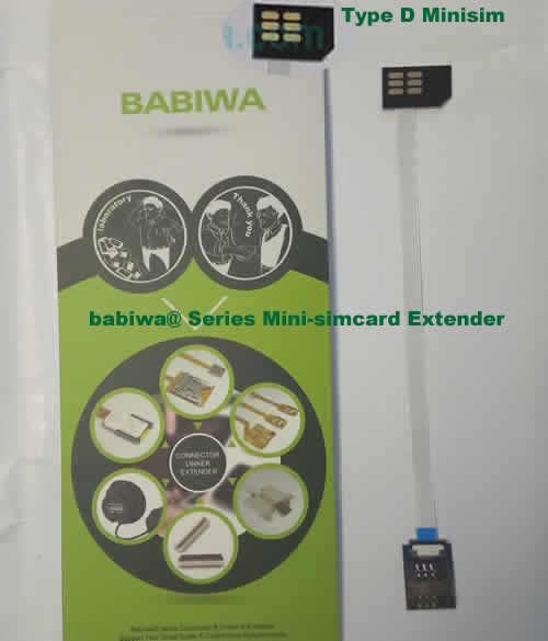 Babiwa@ No.32D Universal Mini-simcard to Minisimcard (microsimcard,nanosimcard) Extension Cable.Support Any devices (brands,models) using Mini simcard in Type D Bevel Direction.also called Mini Simcard Extension Cable,Mini Simcard Linker,Mini Simcard Connector Extender.Universal Mini Simcard Jack Extension Cable,Extender of Mini Simcard Slot,Linker of Mini Simcard Socket,Extender for Mini Simcard Holder.(Free Shipping via Trackable Registered Airmail to Worldwide Area WWW.BABIWA.COM)