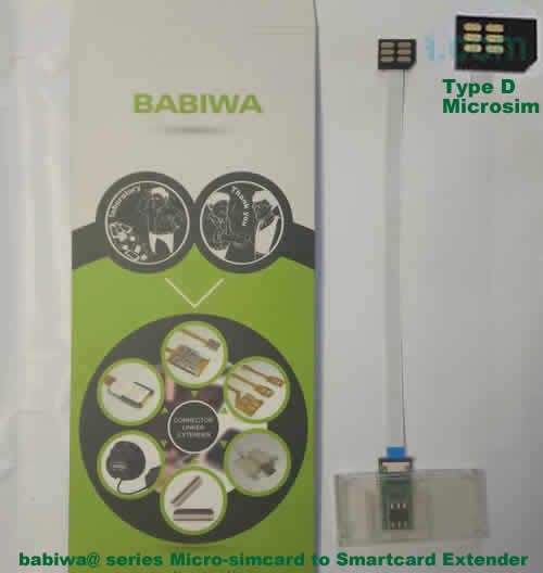 Babiwa@ No.34D Universal Micro-simcard to Smartcard(Big-simcard) Extension Cable.Support Any devices (brands,models) using Micro simcard in Type D Bevel Direction.also called Smartcard tester on Micro-simcard holder, Micro Simcard to Smartcard Extension Cable, Micro Simcard to Smartcard Extender, Micro Simcard Connector to Smartcard Extender .Universal Micro Simcard Jack to Smartcard Linker,Extender of Micro Simcard Slot to Bigcard,Linker of Micro Simcard Socket to Smartcard Holder,Extender for