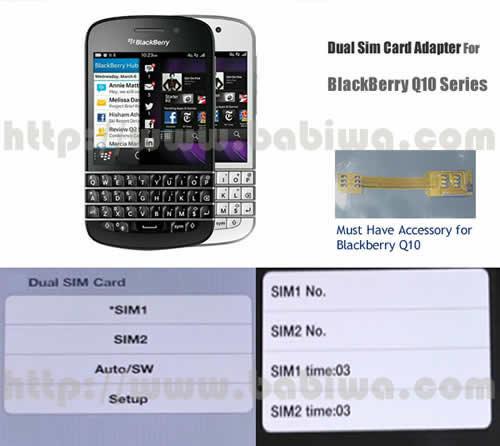 BW-2BQ-05 BABIWA© Q series Dual Sim Card Adapter for BlackBerry Q10 series Mobilephone,Two Simcards Holder-- FDD-LTE 4G HSDPA HSPA 3.5G WCDMA 3G GSM 2G