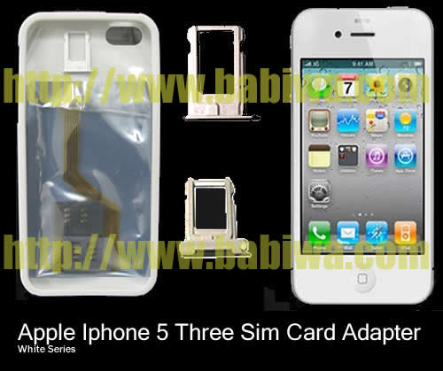 BW-MGL-5  Genuine BABIWA© Q series White Apple iphone 5 Triple Simcard Adapter,with Specially Molded Nano-Sim Tray(for the purpose of easy installation) and one Soft Protective Case.Support 4g fdd-lte 3g umts wcdma 2g gsm gprs