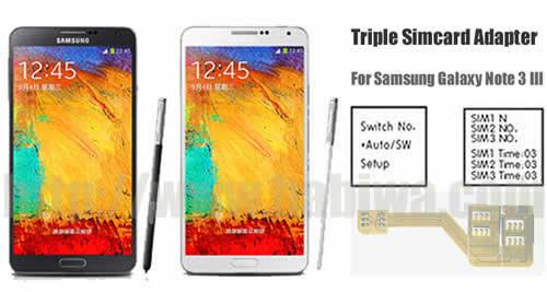 BW-N3M-5H  Genuine BABIWA© Q series Triple Sim Card Adapter for Samsung Galaxy Note 3 III N9005 N9006 N9008 N900x,Three Simcards Holder -- FDD-LTE 4G HSDPA HSPA 3.5G WCDMA 3G GSM 2G