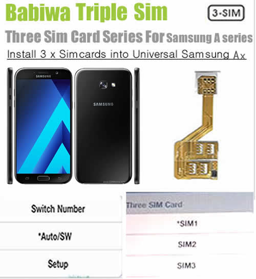 BW-S6A-05M-micro (3 Simcard for Samsung A) Triple Sim Card Adapter for Samsung A, Support Universal Network