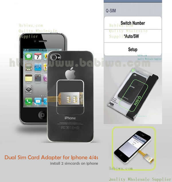 Genuine Q Series Dual Sim Card Adapter for Apple Iphone 4/4s .Support 3g umts wcdma 2g gsm gprs gsm