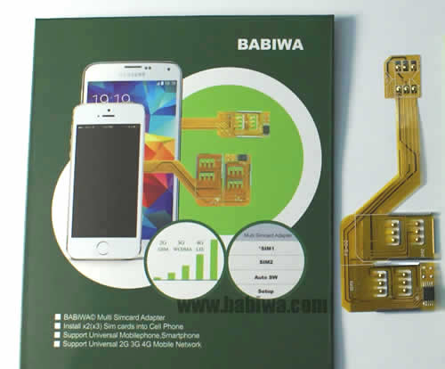 BW-3CL-06  Genuine BABIWA© Q series Non-Cutting Three(Triple) Sim Card Adapter For Samsung Galaxy S3 SIII I9300 I747 Micro Simcard,Support Universal 4G FDD-LTE 3.5G HSDPA 3G WCDMA UMTS 2G GSM EDGE GPRS