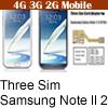 Babiwa Produto ID: BW-N2M-5H - Três adaptador de cartões SIM para Samsung Galaxy Note 2 (Nota II, N7100, N710X, SGH T889) ...