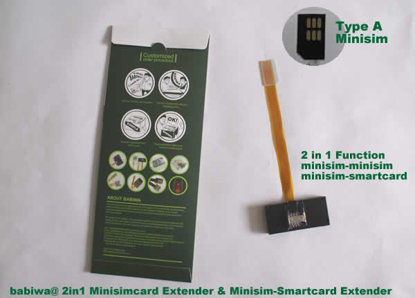Type 2 The 2 in 1 Function Combo Mini-simcard Extender Linker.Function1: Smartcard to universal Mini-Simcard Slot Extender.Function2: Universal Mini simcard slot Extender. The strengthened version of Transfer Unit from Smartcard(or called Bigcard) to universal Mini-Simcard Slot.Support Any devices(brands,models) using universal mini simcard in regular bevel direction.(Free Shipping via Trackable Registered Airmail to Worldwide Area)